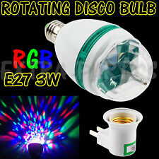 3W E27 RGB CRYSTAL MAGIC BALL ROTATING LED STAGE LIGHT BULB DISCO PARTY + PLUG