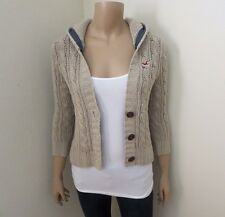 Hollister Womens Crop Knit Cardigan Size XS Sweater Hoodie Beige 3/4 Sleeve