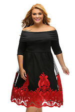 Red Lacy Embroidery Tulle Skirt Black Off Shoulder Skater Dress 16 18 20 22 24