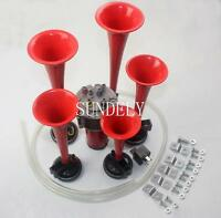 5 Musical Trumpet Air Horn Kit Red 12V 150dB Car Truck Train Boat Motorcycle