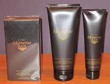 Avon Mesmerize Black 3.4oz Eau De Toilette Hair & Body Wash After Shave NEW