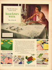 1950 Vintage ad for Irish Linen Week~50's Fashion (103013)