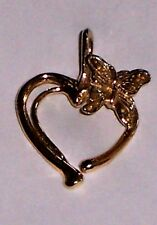 """14k Yellow Gold Heart & Butterfly Pendant Excellent Preowned  .05 oz, 1"""" x 1/2"""""""