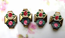 #1250G Vintage Enamel Connectors Findings Flower Charms Rose Guilloche Links Bar