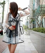 Transparent Sexy Fashion Raincoat Womens Girls Clear Waterproof Rain Coat Black