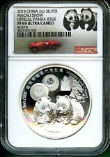 CHINA  2015  OFFICIAL PANDA ISSUE   MACAU SHOW   NGC PF 69 ULTRA CAMEO SILVER