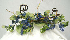 BLUE SWAG ~ BERRY Primitive Silk Flowers Roses Arch Centerpieces Wedding Decor