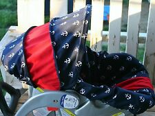 navy blue w/ white anchors with red cotton infant car seat cover and hood
