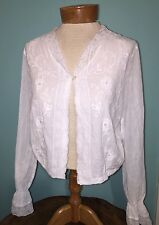 APRIL CORNELL TOP S Small White Hippie Boho  Embroidered  Cardigan Jacket Blouse
