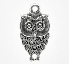 10 x Tibetan Silver Owl Pendant Charms Bird 18mm
