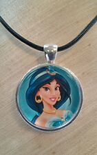 """JASMINE"" Disney's Aladdin. Glass Pendant with Leather Necklace"