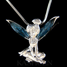 w Swarovski Crystal fairy Navy Blue Tinkerbell Tinker Bell ANGEL Charm Necklace