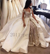 Hot Sale Lace Wedding Dresses Custom Made Cathedral Train Appliques Bridal Gowns
