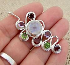 Cut Moonstone & Mixed Gem 925 Silver Pendant Indian Jewellery