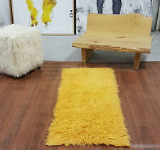 "STYLISH 2'x 5'  GOLD FLOKATI SHAG RUG/ 100% WOOL/FREE SHIP/2.5 ""+ SHAG PILE"