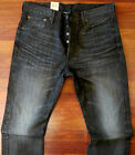 Levi's 501 Straight Leg Jeans Mens Size 33 X 34 Button Fly Dark Distressed Wash