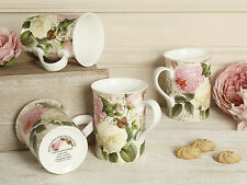 Set of 4 ROSE GARDEN Fine Bone China MUGS In Gift Boxes