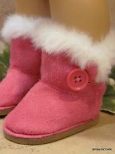 "HOT PINK Fur-Trim EWE Button DOLL BOOTS SHOES fit 18"" AMERICAN GIRL Doll Clothes"