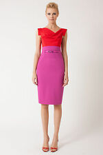 BLACK HALO Jackie O Hibiscus Pink Beret Stretch Colorblock Belted Sheath Dress 0