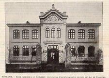 BUCAREST BUCURESTI ECOLE CATHOLIQUE SCHOOL ROUMANIE ROMANIA IMAGE 1902 OLD PRINT