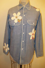 Vintage Blue Chambray Calico Flower & Butterfly Applique Long Sleeved Shirt
