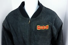 Large Casino Queen Bomer Black Suede Leather Coat Jacket Gambling USA