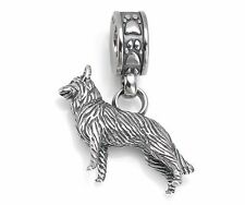 Dog Charm 925 Sterling Silver German Shepherd Paw Print Bead Pendant