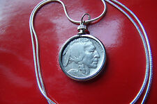 "Gorgeous Original US  Buffalo Nickel Pendant on a 30"" .925 Silver Snake Chain"