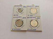 4 pièces argent Pays Bas 10 cts 1941 et 3 gulden 1954/55/56