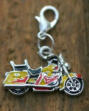 Flame Harley Motorcycle Road King Lobster Claw Clasp Single Clip on Charm Silver