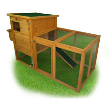 PawHut 75'' Wooden Poultry Chicken Coop Hen House  with Egg Box Backyard Ru