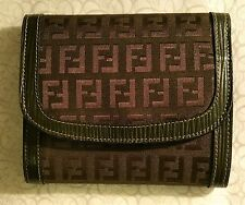 AUTHENTIC FENDI VINTAGE FF MONOGRAM & AVOCADO GREEN LEATHER TRIM TRI-FOLD WALLET