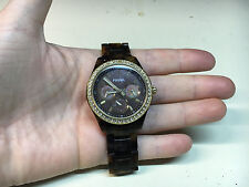 FOSSIL Ladies Women's Wristwatch Watch Jewelry Brown Band Face Design Stainless