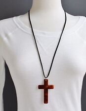 "Brown cross necklace 28"" long Black faux suede cord Big pendant lightweight"