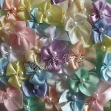 Mini Satin Ribbon Bows with Single Pearl Bead Choose From 22 Colours, Pack Size