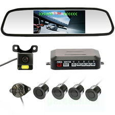 "4.3"" Car Mirror Monitor Camera Reversing Backup Radar + 4 Parking Sensors Cam"