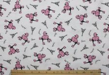 SNUGGLE FLANNEL * PINK POODLES in PARIS on WHITE 100% Cotton Fabric NEW BTY