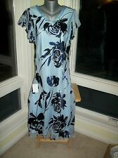 NEW $429 Jacques Vert POWDER BLUE Silk Devore Rose Print Dress EU44 US14