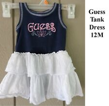 Guess Tank Top Dress Baby Girl 12m 12 month Embroidered Eyelet ruffle sleeveless