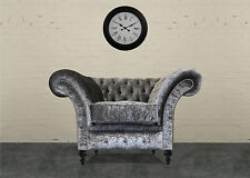 Handmade London Crushed Velvet Fabric Chesterfield Chair Available In 9 Colours