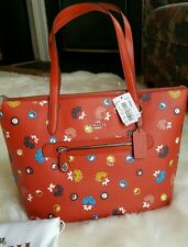 NWT COACH TAYLOR FLORAL CARMINE WILD PRAIRIE LEATHER TOTE SHOULDER PURSE 37226