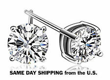 Sterling Silver 925 Round Stud Earrings Made with Swarovski Zirconia 2.00 cttw