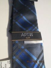 Men's Apt. 9 Charcoal & Blue grid Tie w/tie tack New with tags