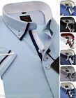 Men's Plain Cotton Shirt Button Down Double Collar Formal Casual Short Sleeve