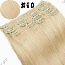 "s-noilite 10""-22""  Double Weft Clip in Remy Human Hair Extensions Full Head BS37"
