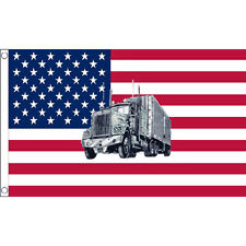 Usa Truck Flag 5Ft X 3Ft American Trucker Route 66 Banner With 2 Eyelets New