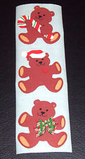 Sandylion Vintage 80's Christmas Teddy Bear Scrapbooking Stickers *1 Strip* Rare