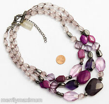 Chico's Signed Necklace Gunmetal PurplePink Fuchsia Chunky Multi Strand Beads