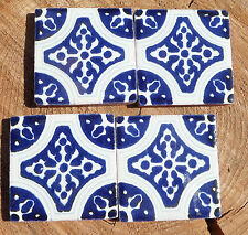 "36~Talavera Mexican 2"" tile pottery Blue white kiln fired hand painted Mexico"