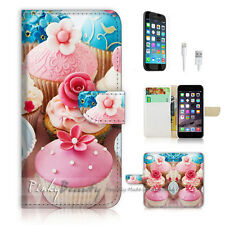 iPhone 7 (4.7') Flip Wallet Case Cover P1360 Flower Cup Cake